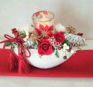 クリスマスキャンドルアレンジメント プリザーブドフラワー