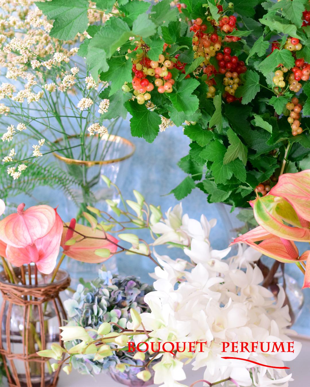 夏の花 アンスリウム フサスグリ 房すぐり ピンクの花 赤い実