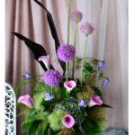 カラー ギガンジウム 夏 花 アレンジメント アレンジ 紫の花 淡い