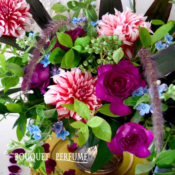 ダリア バラ 赤い花 ブルースター 水色の花 紫色のバラ