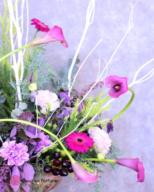 フラワーアレンジメント 紫